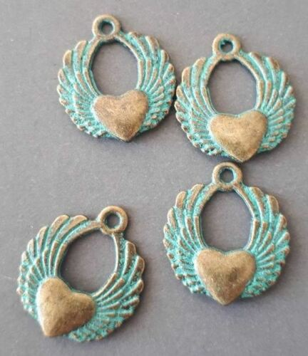 Angel wing charm heart charm patina brass Angel wing w//love heart charm 6pcs