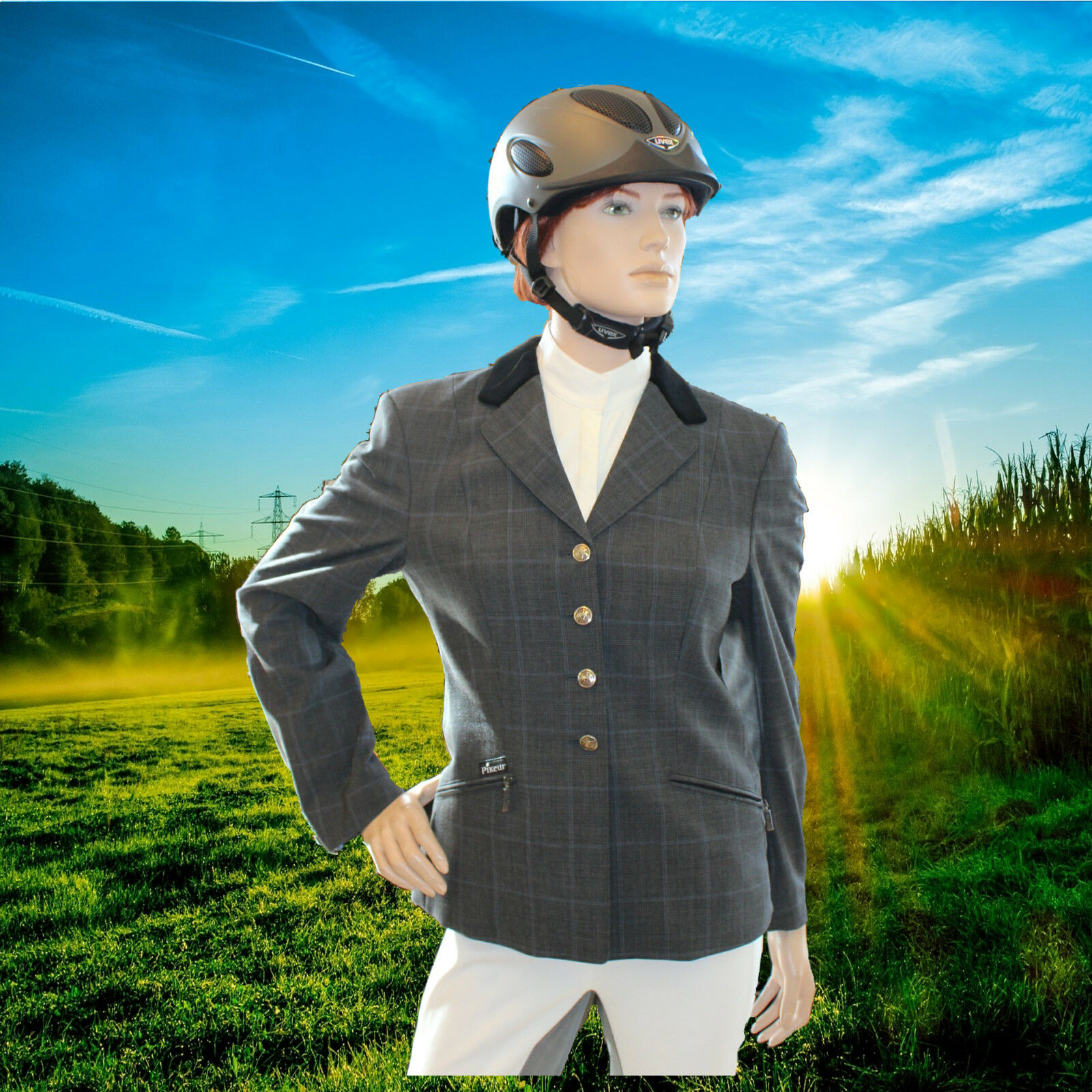 PIKEUR Turniersakko Skarlett, Turnierjacke, Karodesign , grau-blau, Größe 42