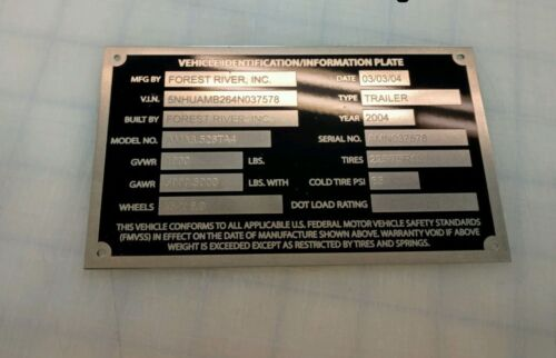 MEDIUM /& LARGE SIZE DATA NUMBER PLATE ENGRAVING CHARGE