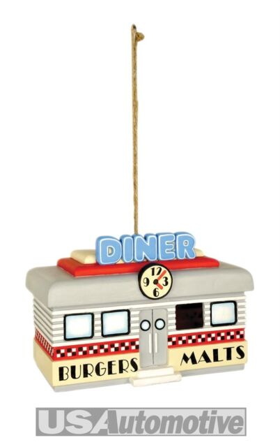 AMERICAN DINER HANGING BIRD HOUSE NESTING BOX STATION SMALL HOME FEEDER