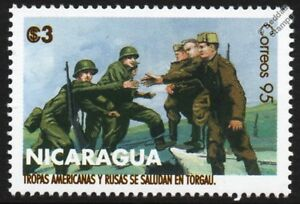 Charmant Wwii 1945 Us Et Soviétique Russe Armées Se Rencontrent à Torgau Sur Elbe Timbre-afficher Le Titre D'origine