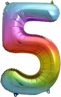 Giant 34 Rainbow Number 5 Foil Balloon Rainbow Balloon Rainbow Party Number 5 Foil Balloon 34 Rainbow Party Decor