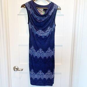 Desigual-sz-Small-Medium-Blue-Cowl-Neck-Jersey-Knit-Sleeveless-Dress