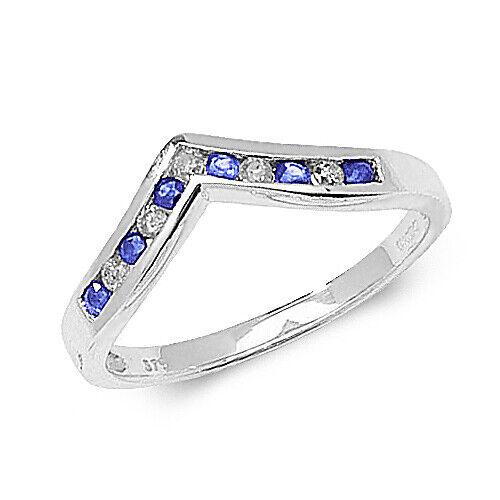 9ct Oro Blanco Tanzanita y Diamante Anillo de horquilla
