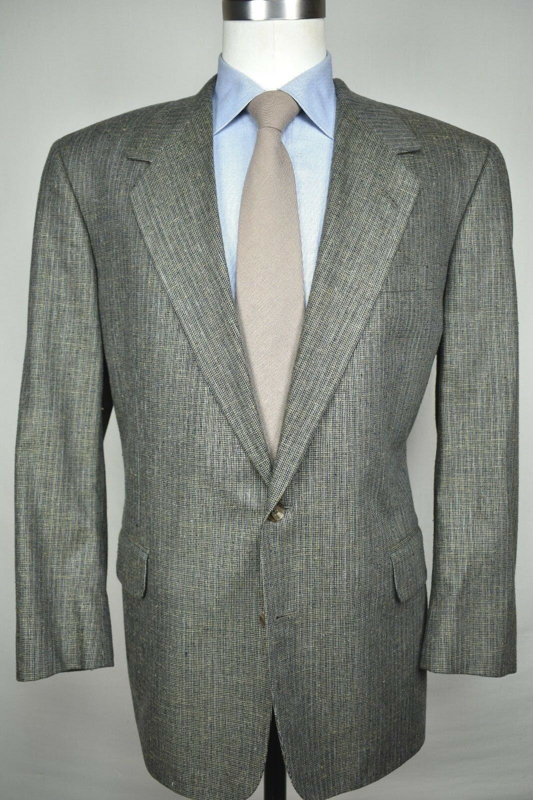 Tom James Innocenti Dark Grün/Braun Silk Two Button Sport Coat  Größe: 44R
