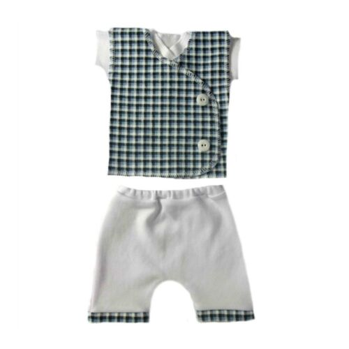 Baby Boys Blue Checkered Vest Shorts Shirt Clothing Outfit 4 Preemie /& Newborn