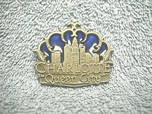 "CHARLOTTE QUEEN CITY NORTH CAROLINA METAL & ENAMEL 1 3/4"" SOUVENIR MAGNET NICE"