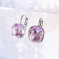 Pale Violet Purple Leverback Drop Earring w/ Cushion Cut Swarovski Crystal