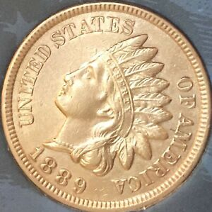 1889-INDIAN-HEAT-PENNY-4-DIAMONDS-BEAUTIFUL-COIN-CLEANED