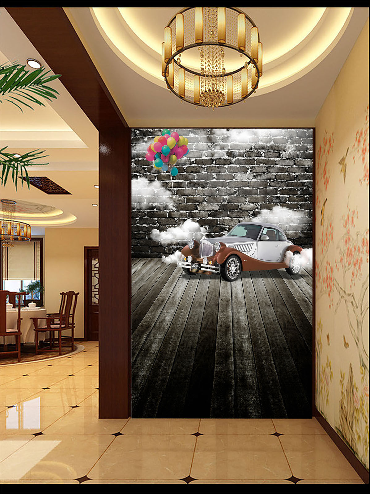 3D Car And Balloons 415 Wall Paper Wall Print Decal Wall Deco Wall Indoor Murals