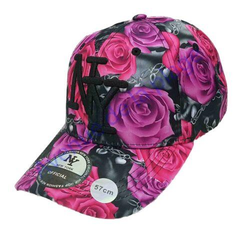 Casquette NY New York snapback fleurie roses visière arrondie hip hop neuf
