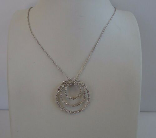 925 STERLING SILVER TRIO OPEN CIRCLE NECKLACE PENDANT W// 2ct LAB DIAMONDS//18/'/'