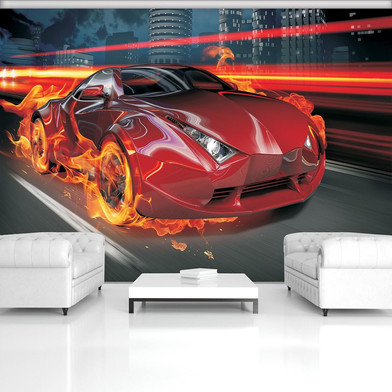 Photo Wallpaper Mural  20246_P Red Car in Fire Red Cars Sport Speed Auto Race Tr