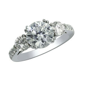 1.80 Ct Round Real Moissanite Engagement Ring 18K Solid White Gold ring Size 9