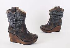 Bed Stu Bruges Black Lux Distressed Wedge Sweat Boots US 7.5