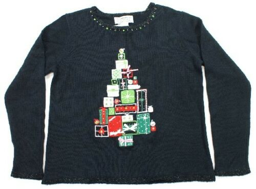 Christmas Sweater Tiara Holiday Black Gifts TreeTrim Sequins NWT