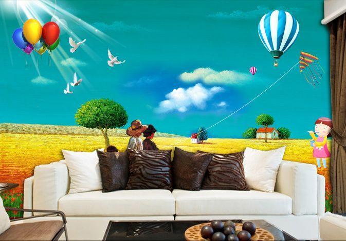3D blueer Himmel goldene Erde Fototapeten Wandbild Fototapete BildTapete Familie