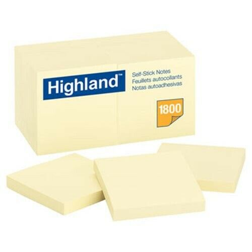 Highland Self-Stick Notes 18 100-Sheet Pads//Pack 3 x 3 Yellow MMM654918PK