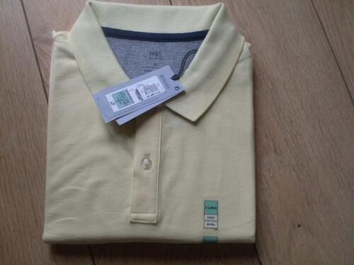 M /& S Homme Cool Confort Polo en coton-Jaune-XL-Bnwt