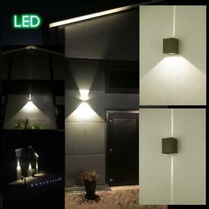 Wandleuchte-Lichtstrahl-LED-18W-Lichtkegel-aussen-Fassadenleuchte-Wandlampe-grau