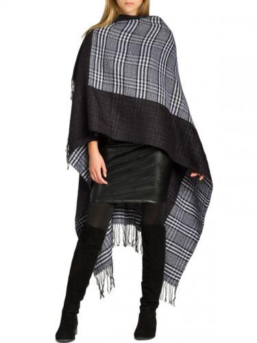 Caspar da donna in lana Poncho mantello mantella TARTAN PLAID PATTERN e frange taglia unica