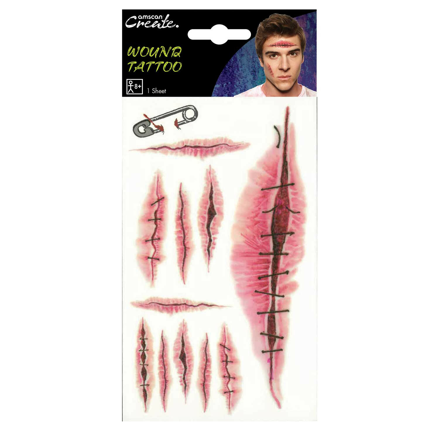 FACE PAINTING KIT Halloween/Wound/Scar/UV/Applicator {Amscan}