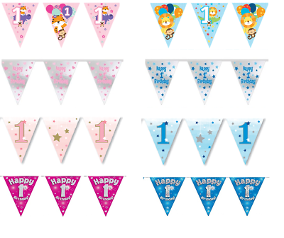 New Pink Holographic Happy 70th Birthday Flag Bunting Decoration 12.8ft Long
