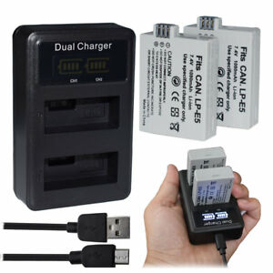 Lp-e5 Lcd Display Dual Port Camera Usb Battery Charger Smart Charging Stand For Canon Eos 1000d 500d Eos Kiss Consumer Electronics