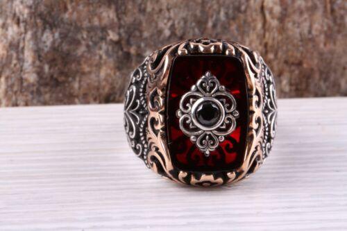 Turco Joyería de plata esterlina 925 Anillo Rojo Ruby ottaman hombre Mans todos si̇ze 001 1