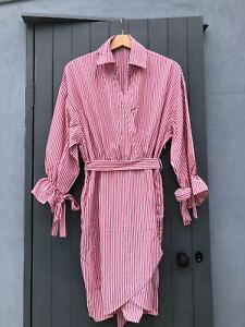 Womens Pin Striped Wrap Crossover Front V Neck Shirt Dress Red White 8 10 12 14