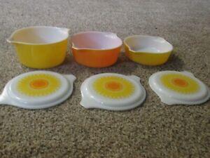 Vintage Set of 3 Pyrex Sunflower Daisy Casserole Dish & Pattern Milk Glass Lids