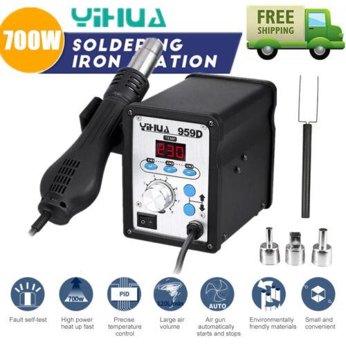 YIHUA 959D 700W Soldering Iron Rework Station SMD Hot Air Gun Welder 3 Nozzles