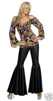 60s Hippy Hippie Fancy Dress Costume Smiffys Sizes 8-24 Top & Black Bell Bottoms