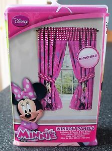 Image Is Loading Disney Minnie Mouse Panel Pair Amp Ties Curtain