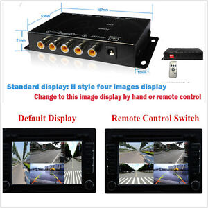 4-Way Car Video Switch Parking Camera 4 View Image Split-Screen Control Box