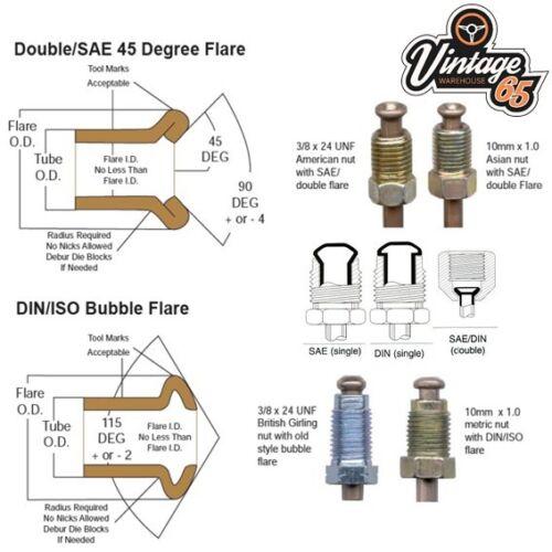 "3//16/"" Copper 3//8/"" Male /& Female Unions Classic Car Brake Pipe Flaring Tool SAE"