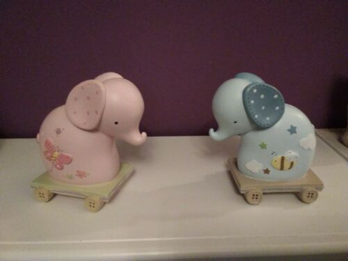 Baby blue and pink elephant money box