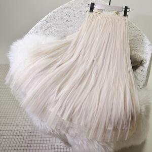 Princess-Tulle-Mesh-Pleated-Skirt-Wedding-Rockabilly-Bouffant-Fairy-Midi-Dress