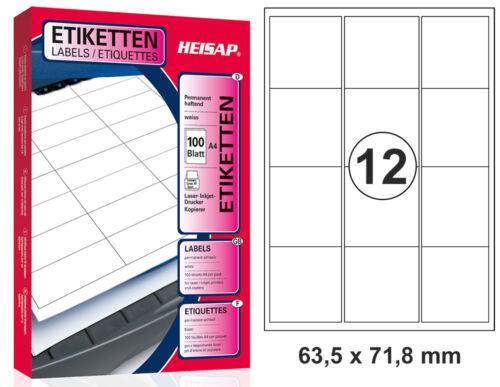 1200 Universal Drucker-Etiketten 63,5 x 72 A4 Weiß 100 Bogen A4 HEISAP 36