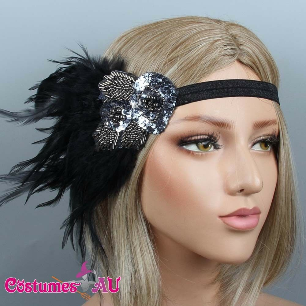 1920s Headband Black Feather Bridal Great Gatsby 20s Gangster Flapper Headpiece