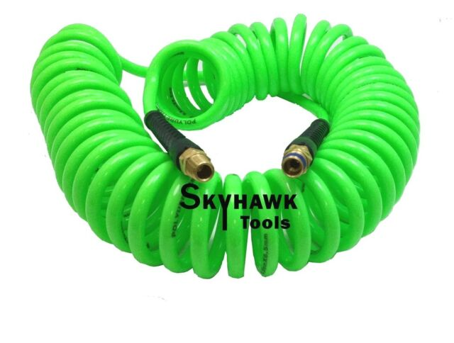 """1/4"""" x 30 foot POLYURETHANE RE COIL AIR HOSE male SWIVEL Fittings GREEN recoil"""