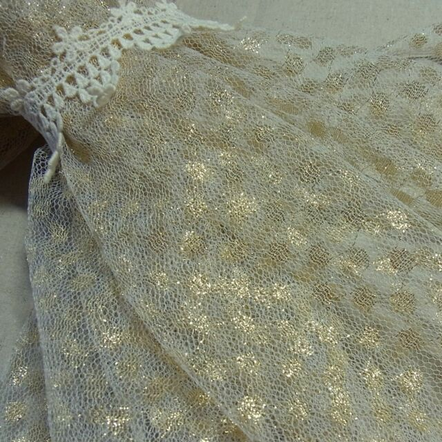 Tulle Lace Fabric Romantic Golden Dots Wedding Dress Doll Craft 150cm Wide 1yd