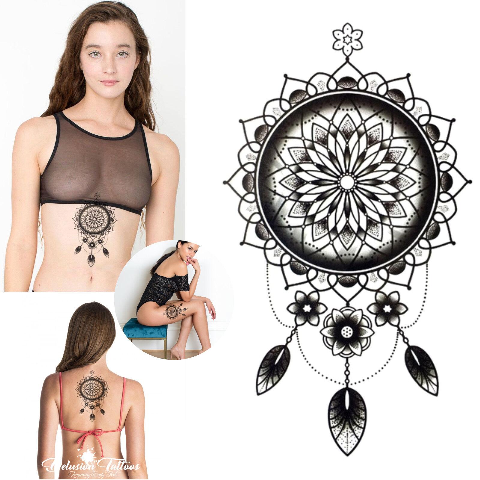 Dream Catcher Mandala Temporary Tattoo Tribal Henna Black Body Art Waterproof Ebay