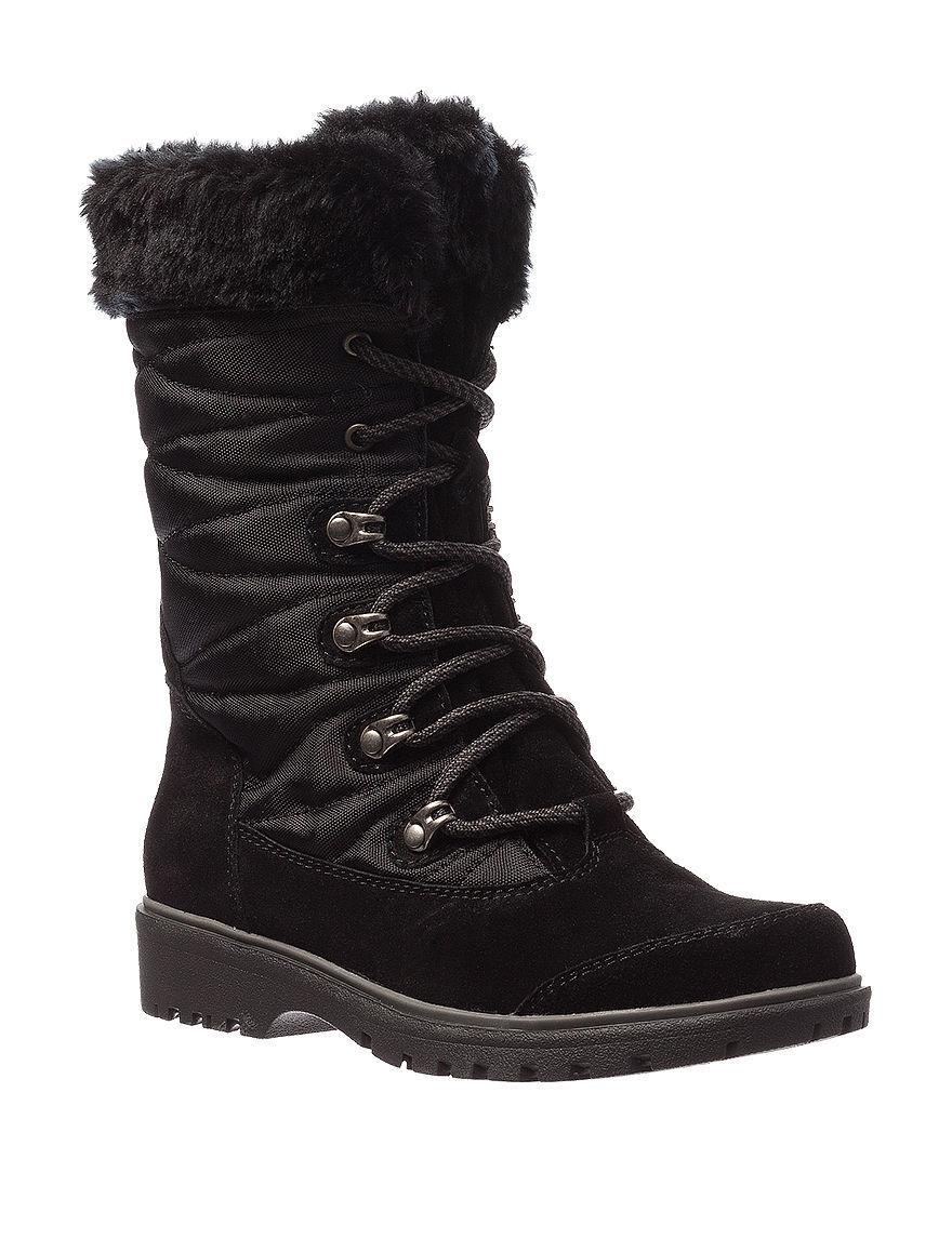 Baretraps Faux Fur Luxury Fashion Black Womens Satin Winter Boots Size 10
