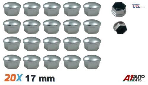 20 Stück 17mm Chrom Silber Nuss-Radbolzen Legierung Deckt Kappen Universal-Set