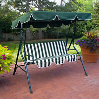 Outdoor Green Stripe Patio Sling Swing Glider Furniture Canopy Yard Bench Home