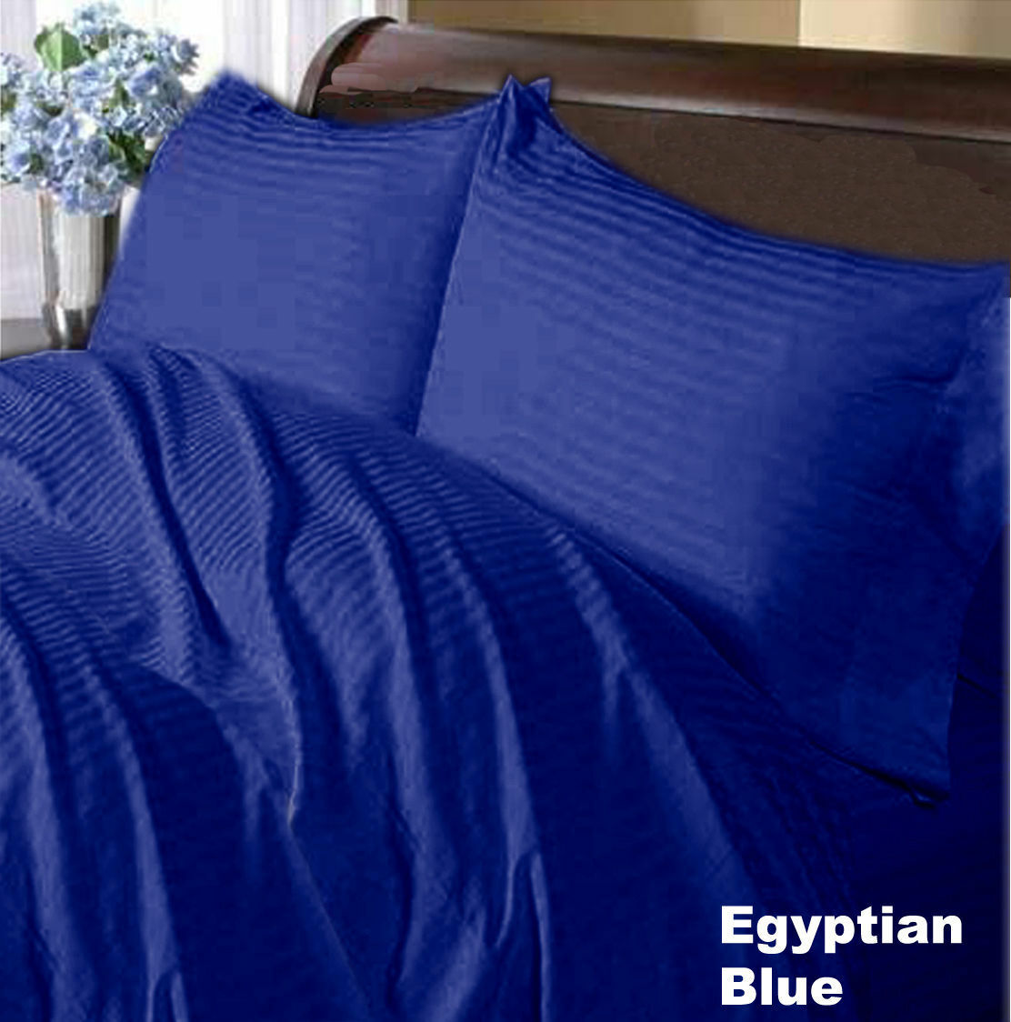Egyptian Cotton 1000 Thread Count Luxury Bedding All Sizes Egyptian bluee Striped