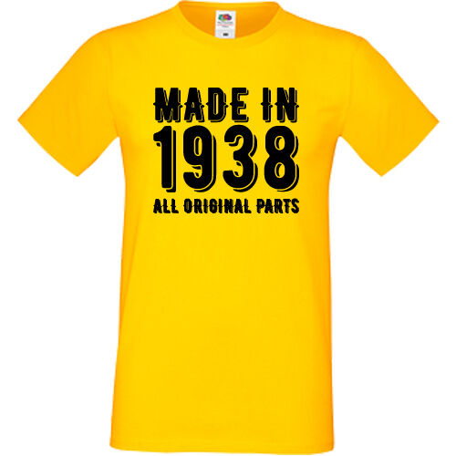 Made In 1938 All Original Parts T-Shirt Sofspun 81st Birthday Present Gift