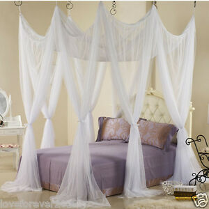 Bed Canopy Heavy Netting Curtain 8 Door Hook Queen