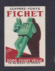 Ancienne étiquette allumettes France BN53010 Coffres Fort Fichet